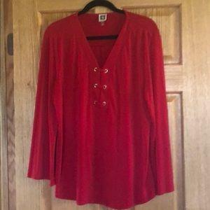 Anne Klein Red Dress Shirt.